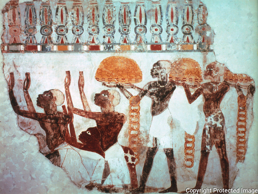 Egyptian Tomb Paintings:  Nubian Gold, c. 1400 BC.  Trustees of the British Museum.  Reference only.