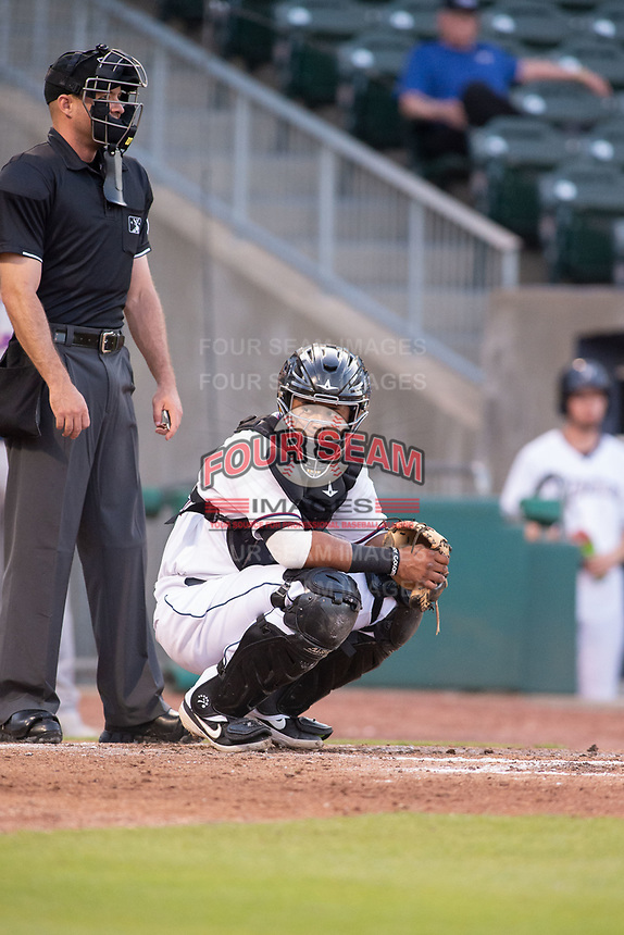 Northwest Arkansas Naturals catcher Meibrys Viloria (22) looks back to the dugout on May 6, 2019, at Arvest Ballpark in Springdale, Arkansas. (Jason Ivester/Four Seam Images)