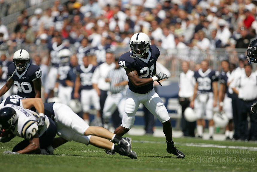 State College, PA -- 09/1/2007 -- Penn State sophomore cornerback from York, PA, Knowledge Timmons (21), closes on the tackle during the closing minutes of the home opener vs. Florida International University on Saturday, September 1, 2007, at Beaver Stadium.  Penn State defeated the Golden Panthers by a score of 59-0.  Photo:  Joe Rokita / JoeRokita.com