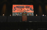 LAS VEGAS, NV - AUG 19:  Carlos Castro, Mark Magsayo, Robert Guerrero, Ray Flores, Victor Ortiz, Julio Ceja and Oscar Escandon at the undercard press conference at the MGM Grand Garden Arena on August 19, 2021 for the upcoming Fox Sports PBC pay-per-view fight in Las Vegas, Nevada. Pacquaio vs Ugas pay-per-view will be on August 21 at T-Mobile Arena in Las Vegas. (Photo by Scott Kirkland/Fox Sports/PictureGroup)