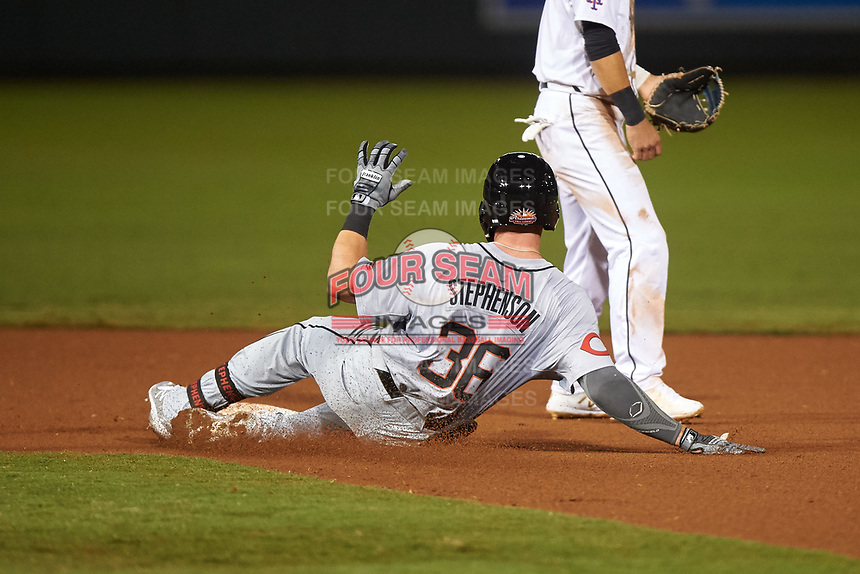 Glendale Desert Dogs Tyler Stephenson (36), of the Cincinnati Reds organization, slides into second base for a double during an Arizona Fall League game against the Scottsdale Scorpions on September 20, 2019 at Salt River Fields at Talking Stick in Scottsdale, Arizona. Scottsdale defeated Glendale 3-2. (Zachary Lucy/Four Seam Images)