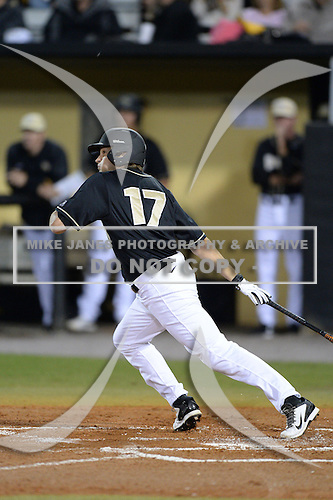 Central Florida Knights outfielder Derrick Salberg (17) during the season opening game against the Siena Saints at Jay Bergman Field on February 14, 2014 in Orlando, Florida.  UCF defeated Siena 8-1.  (Copyright Mike Janes Photography)