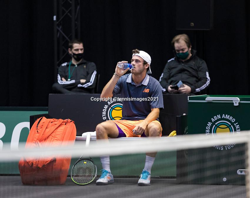 Rotterdam, The Netherlands, 3 march  2021, ABNAMRO World Tennis Tournament, Ahoy, First round match: Lorenzo Sonego (ITA).<br /> Photo: www.tennisimages.com/henkkoster