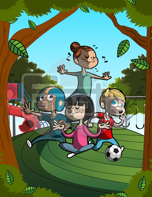 Illustrative image of children performing different activities representing sports healthy lifestyle
