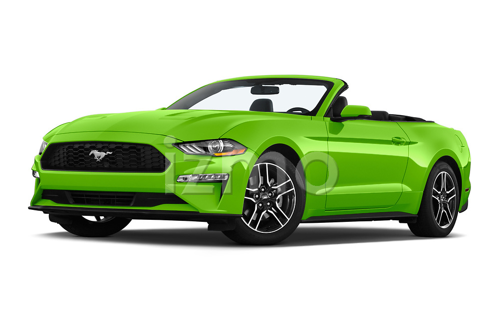Stock pictures of low aggressive front three quarter view of 2020 Ford Mustang EcoBoost-Premium 2 Door Convertible Low Aggressive