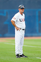 USA Assistant Coach Dave Van Horn #2 (Arkansas) in the third base coaches box during the game against the Japan Collegiate National Team at the Durham Bulls Athletic Park on July 3, 2011 in Durham, North Carolina.  USA defeated Japan 7-6.  (Brian Westerholt / Four Seam Images)
