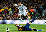 Marcelo Vieira Da Silva of Real Madrid gets tripped during the La Liga 2017-18 match between FC Barcelona and Real Madrid at Camp Nou on May 06 2018 in Barcelona, Spain. Photo by Vicens Gimenez / Power Sport Images