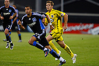 27 MAY 2009: #21 Jason Hernandez of the San Jose Earthquakes and #19 Robbie Rogers, Columbus Crew forward in action during the San Jose Earthquakes at Columbus Crew MLS game in Columbus, Ohio on May 27, 2009. The Columbus Crew defeated San Jose 2-1