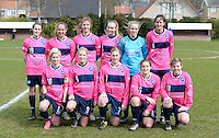20160328 - Zwevezele , BELGIUM : FC Turnhout team pictured with Jana Rameysen (1) , Sara Blondeel (3) , Anne-Sophie Caers (5) , Emma Truyens (6) , Julie Adriaensen (7) , Greet Hermans (8) , Larissa Van Gils (9) , Stephanie Van Gils (10) , Jasmien Schoofs (11) , Lara Lenaerts (16) and Inya Matthe (19)  during the soccer match between the women teams of Voorwaarts Zwevezele and FC Turnhout  , on the 20th matchday of the Belgian Third division for Women on Saturday 28 th March 2016 in Zwevezele .  PHOTO SPORTPIX.BE DAVID CATRY