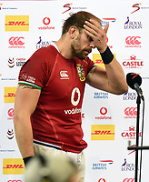 Alun Wyn Jones - British & Irish Lions captain stands dejected at the end of the match following a 27-9 defeat to the Springboks in the 2nd Test match.<br /> South Africa v British & Irish Lions, 2nd Test, Cape Town Stadium, Cape Town, South Africa,  Saturday 31st July 2021. <br /> Please credit: FOTOSPORT/DAVID GIBSON