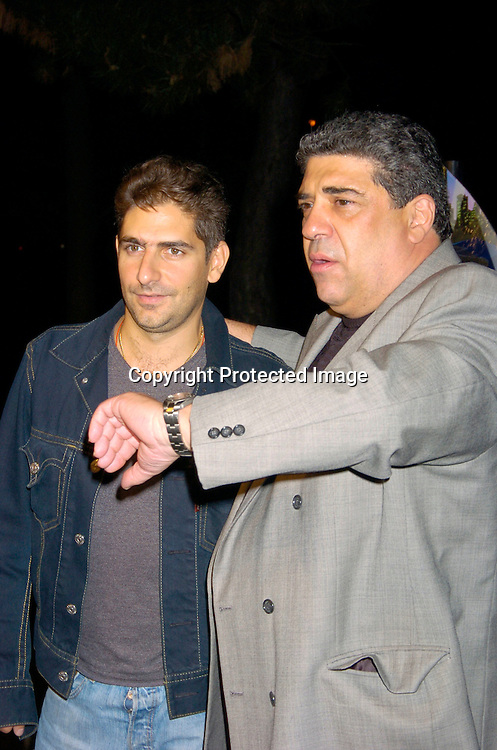"""Michael Imperioli and Vincent Pastore ..at the New York Premier of """"Shark Tale"""" on September 27. 2004 at the Delacorte Theatre in Central Park. ..Photo by Robin Platzer, Twin Images"""