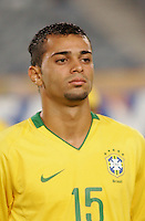 Brazil's Wellington Junior (15) stands on the pitch before the game against Costa Rica during the FIFA Under 20 World Cup Semi-final match at the Cairo International Stadium in Cairo, Egypt, on October 13, 2009. Brazil won the match  1-0.