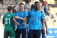 Eastbourne Borough players celebrate their victory at the final whistle during Maidstone United vs Eastbourne Borough, Vanarama National League South Football at the Gallagher Stadium on 9th October 2021