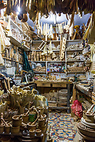 Chefchaouen, Morocco.  Woodworker's Shop in the Medina at Night.