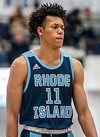 WASHINGTON, DC - FEBRUARY 8: Jeff Dowtin #11 of Rhode Island during a game between Rhode Island and George Washington at Charles E Smith Center on February 8, 2020 in Washington, DC.