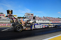 Aug. 19, 2011; Brainerd, MN, USA: NHRA top fuel dragster driver Antron Brown during qualifying for the Lucas Oil Nationals at Brainerd International Raceway. Mandatory Credit: Mark J. Rebilas-