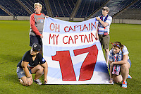 Chicago, IL - Saturday July 30, 2016: Lori Chalupny, Chicago Local 134, Chicago Red Stars supporters group after a regular season National Women's Soccer League (NWSL) match between the Chicago Red Stars and FC Kansas City at Toyota Park.