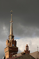 Poland, Tarnow, Tarnow Cathedral spire with storm clouds