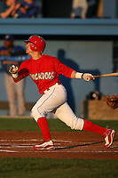 September 3, 2009:  Second Baseman Devin Goodwin of the Batavia Muckdogs at bat during a game at Dwyer Stadium in Batavia, NY.  The Muckdogs are the Short-Season Class-A affiliate of the St. Louis Cardinals.  Photo By Mike Janes/Four Seam Images