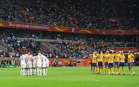 Players of team Sweden (r) celebrate, Players of team USA (l) discuss during the FIFA Women's World Cup at the FIFA Stadium in Wolfsburg, Germany on July 6thd, 2011.