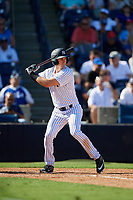 New York Yankees left fielder Zach Zehner (93) at bat during a Grapefruit League Spring Training game against the Toronto Blue Jays on February 25, 2019 at George M. Steinbrenner Field in Tampa, Florida.  Yankees defeated the Blue Jays 3-0.  (Mike Janes/Four Seam Images)
