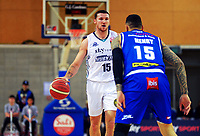 Tom Vodanovich in action during the National Basketball League Final Four semifinal match between Wellington Saints and Auckland Huskies at Te Rauparaha Arena in Porirua, New Zealand on Thursday, 22 July 2021. Photo: Dave Lintott / lintottphoto.co.nz