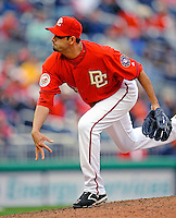 13 April 2008: Washington Nationals' pitcher Luis Ayala on the mound against the Atlanta Braves at Nationals Park, in Washington, DC. The Nationals ended their 9-game losing streak by defeating the Braves 5-4 in the last game of their 3-game series...Mandatory Photo Credit: Ed Wolfstein Photo