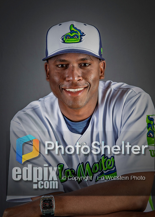 11 June 2019: Vermont Lake Monsters hitting coach Francisco Santana poses for a portrait on Photo Day at Centennial Field in Burlington, Vermont. The Lake Monsters are the Single-A minor league affiliate of the Oakland Athletics and play a short season in the NY Penn League Stedler Division. Mandatory Credit: Ed Wolfstein Photo *** RAW (NEF) Image File Available ***