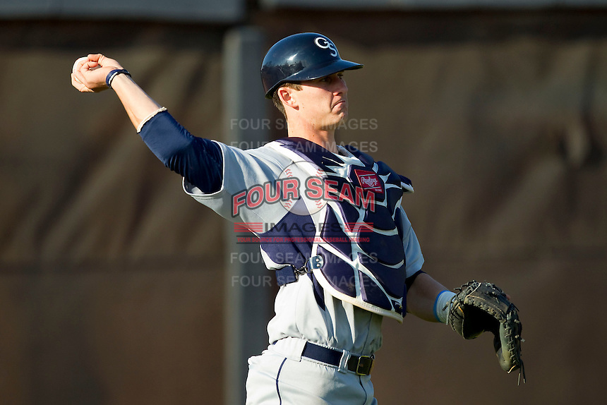Chase Griffin (23) of the Georgia Southern Eagles warms up in the outfield prior to the game against the UNCG Spartans at UNCG Baseball Stadium on March 29, 2013 in Greensboro, North Carolina.  The Spartans defeated the Eagles 5-4.  (Brian Westerholt/Four Seam Images)