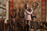 BNPS.co.uk (01202 558833)<br /> Pic: ZacharyCulpin/BNPS<br /> <br /> Pictured: An eclectic array of Continental figures and other unusual antiques sold for thousands of pounds with a British auction house.<br /> <br /> The sale featured a pair of Italian late 19th century walnut huntsmen figures which sold for £26,000 (pictured left), while an early 20th century ventriloquist's dummy (bottom right)  in a sailor's costume which sold for £1300<br /> <br /> Other items that went under the hammer with auctioneers Woolley & Wallis, of Salisbury, Wilts, were the Sir Michael Codron Collection of Lions, consisting of needlework, pottery and brass. A mirror once owned by musician George Formby (pictured: right) also sold.