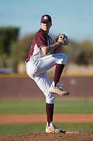 Mountain Ridge Mountain Lions starting pitcher Matthew Liberatore (32) delivers a pitch during a game against the Boulder Creek Jaguars at Mountain Ridge High School on February 28, 2018 in Glendale, Arizona. Liberatore collected 14 strikeouts in his first appearance of the spring, leading the Mountain Lions to a 6-3 conference victory. (Zachary Lucy/Four Seam Images)