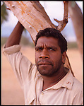 An aboriginal on the dry river bed known as the Henley River, Alice Springs, Australia.