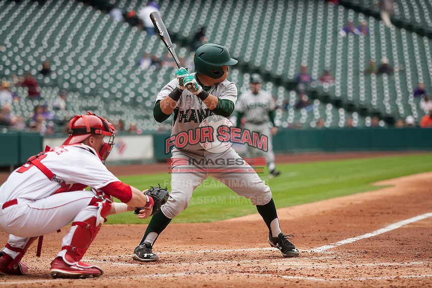 Hawaii Rainbow Warriors second baseman JJ Kitaoka (14) at bat during the NCAA baseball game against the Nebraska Cornhuskers on March 7, 2015 at the Houston College Classic held at Minute Maid Park in Houston, Texas. Nebraska defeated Hawaii 4-3. (Andrew Woolley/Four Seam Images)