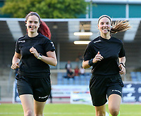 Assistant referee Irmgard Van Meirvenne, referee Jana Van Laere warming up before a female soccer game between FC Femina White Star Woluwe and KAA Gent Ladies on the third match day in the 2021 - 2022 season of Belgian Scooore Womens Super League , Friday 3 th of September 2021  in Woluwe , Belgium . PHOTO SPORTPIX   SEVIL OKTEM