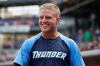 Trenton Thunder left fielder Trey Amburgey (14) during a game against the Hartford Yard Goats on August 26, 2018 at Dunkin' Donuts Park in Hartford, Connecticut.  Trenton defeated Hartford 8-3.  (Mike Janes/Four Seam Images)