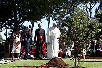 Pope Francis walks towards a newly-planted oak tree during a tree-planting ceremony on the occasion of the Feast of St. Francis of Assisi, in the Vatican Garden at the Vatican, on October 4, 2019.<br /> UPDATE IMAGES PRESS/Isabella Bonotto<br /> <br /> STRICTLY ONLY FOR EDITORIAL USE