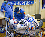 Expedition 38 Flight Engineer Rick Mastracchio of NASA is seen laying in a seat liner as he and fellow crew mates, Flight Engineer Koichi Wakata of the Japan Aerospace Exploration Agency, and, Soyuz Commander Mikhail Tyurin of Roscosmos, have their Russian Sokol suits pressure checked a few hours ahead of their launch, Thursday, Nov. 7, 2013, in Baikonur, Kazakhstan. Tyurin, Wakata, and, Mastracchio will launch in their Soyuz TMA-11M spacecraft to the International Space Station to begin a six-month mission. Photo Credit: (NASA/GCTC/Irina Peshkova)