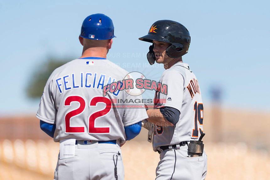 Mesa Solar Sox left fielder Daniel Woodrow (19), of the Detroit Tigers organization, talks to hitting coach Jesus Feliciano (22), of the Chicago Cubs organization, after getting a hit during an Arizona Fall League game against the Glendale Desert Dogs at Camelback Ranch on October 15, 2018 in Glendale, Arizona. Mesa defeated Glendale 8-0. (Zachary Lucy/Four Seam Images)