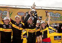 May 1, 2011; Baytown, TX, USA: NHRA funny car driver Jeff Arend celebrates after winning the Spring Nationals at Royal Purple Raceway. Mandatory Credit: Mark J. Rebilas-