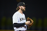 Charlotte Knights third baseman Trey Michalczewski (18) on defense against the Scranton/Wilkes-Barre RailRiders at BB&T BallPark on August 14, 2019 in Charlotte, North Carolina. The Knights defeated the RailRiders 13-12 in ten innings. (Brian Westerholt/Four Seam Images)
