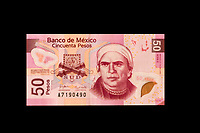 Mexico, North America.  Fifty Pesos Banknote showing Jose Maria Morelos, a 19th-century leader of Mexico's War of Independence.