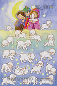 Interlitho, Soledad, CHRISTMAS CHILDREN, naive, paintings, 3 kids, lambs, moon(KL2296,#XK#) Weihnachten, Navidad, illustrations, pinturas
