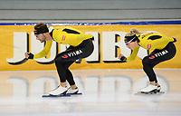 SCHAATSEN: HEERENVEEN, IJsstadion Thialf, 02-10-2020, TEAM JUMBO/VISMA, Thomas Krol, Joy Beune, ©foto Martin de Jong