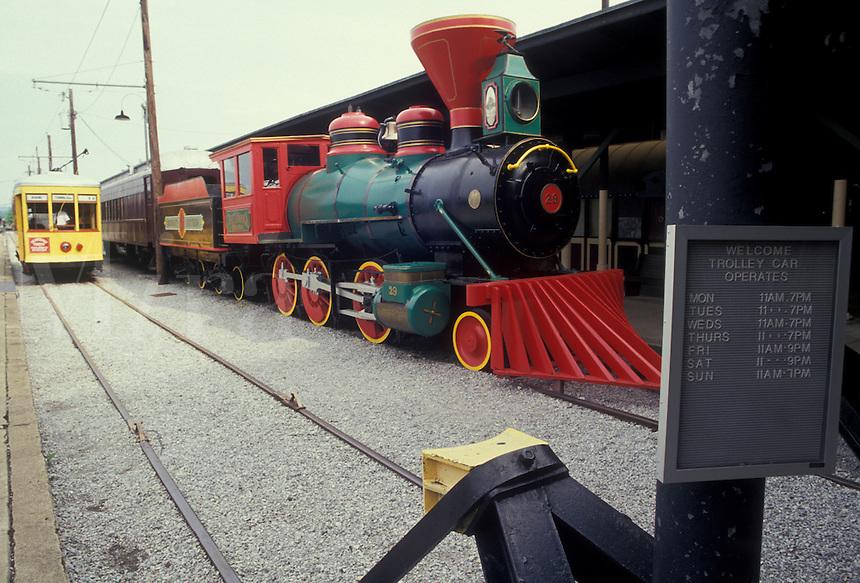 AJ2674, Chattanooga, locomotive, train, Choo Choo Train, Tennessee, Locomotive and trolley are displayed at Chattanooga Choo Choo and Terminal Station in Chattanooga in the state of Tennessee.