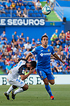 Jaime Mata of Getafe CF and Ruben Duarte of Deportivo Alaves during La Liga match between Getafe CF and Deportivo Alaves at Colisseum Alfonso Perez in Getafe, Spain. August 31, 2019. (ALTERPHOTOS/A. Perez Meca)