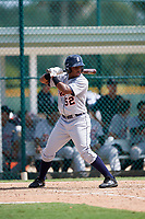 Detroit Tigers Jimmy Mojica (52) at bat during a Florida Instructional League game against the Pittsburgh Pirates on October 2, 2018 at the Pirate City in Bradenton, Florida.  (Mike Janes/Four Seam Images)