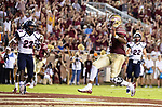 Florida State quarterback Deondre Francois scores against Samford during an NCAA college football game in Tallahassee, Fla.,Saturday, Sept. 8, 2018.  Florida State defeated Samford 36 to 26.