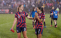 EAST HARTFORD, CT - JULY 1: Lindsey Horan #9 and Tobin Heath #7 of the USWNT walk the field during a game between Mexico and USWNT at Rentschler Field on July 1, 2021 in East Hartford, Connecticut.