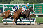 09-25-10: A Story Of Revenge, a sister to 2009 Kentucky Derby favorite I Want Revenge, wins her maiden race at first asking with Joe Bravo aboard.