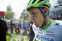 a dissapointed Mathew Hayman (AUS/Orica_GreenEDGE) after the race<br /> <br /> Paris-Roubaix 2014